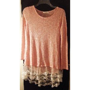 Pomelo Lightweight Sweater W/ Lace Peach Sz XL